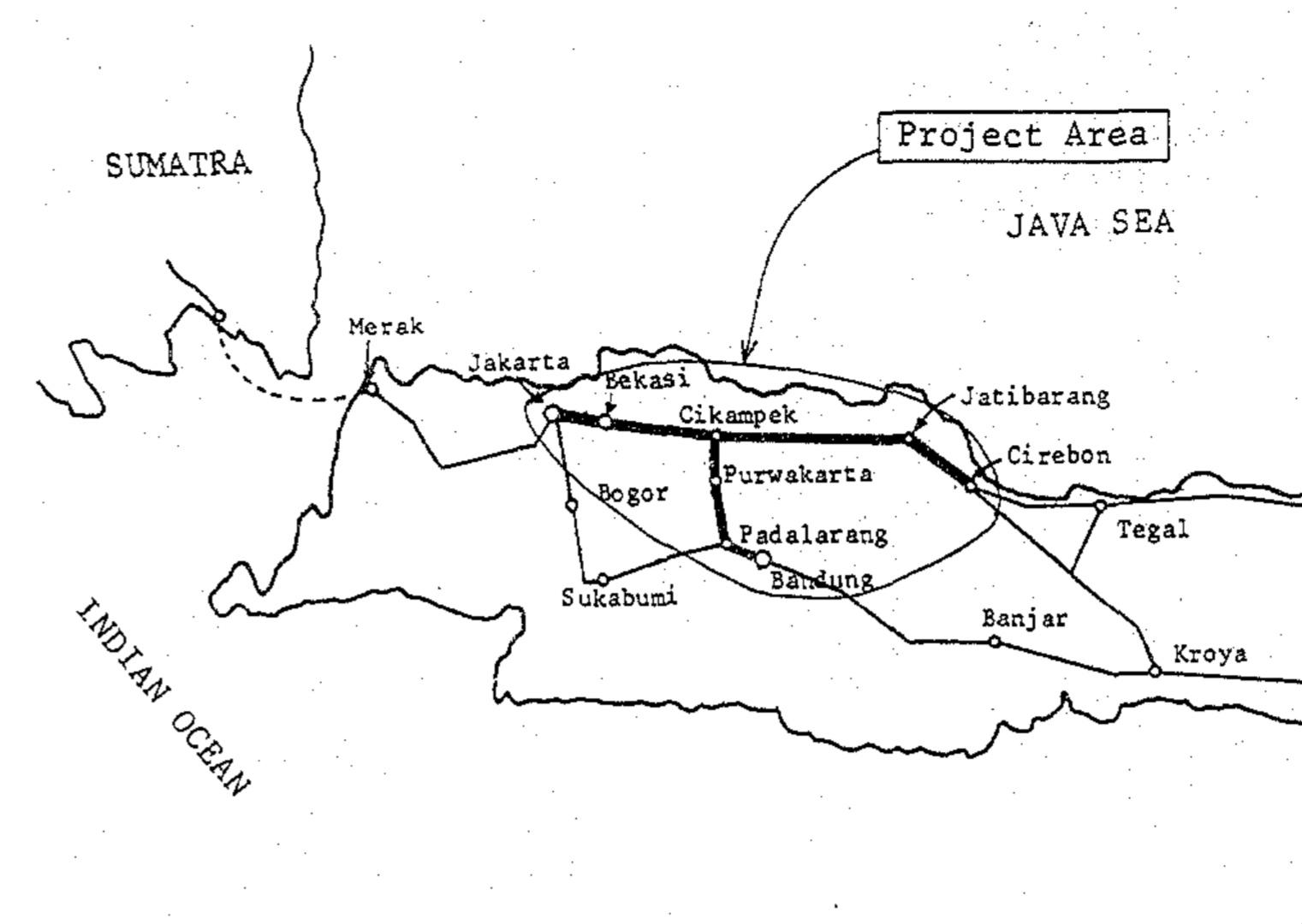 Peta Proyek Elektrifikasi Segmen Pertama   Sumber: JICA