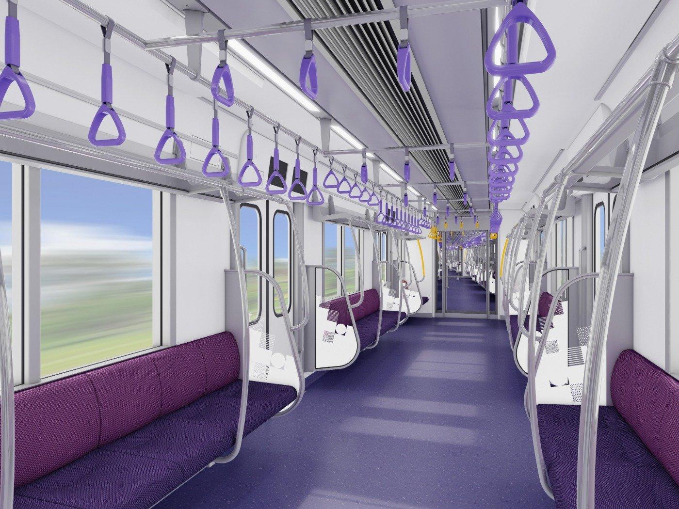 Ilustrasi interior KRL Tokyo Metro seri 18000