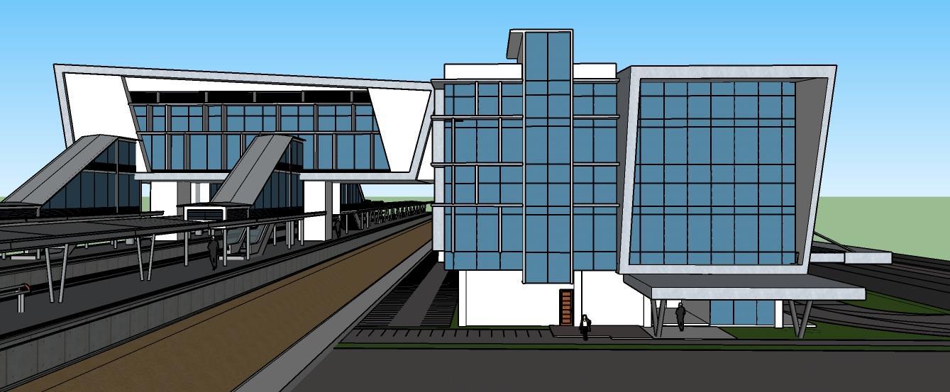 tampak samping konsep 3d stasiun jatake