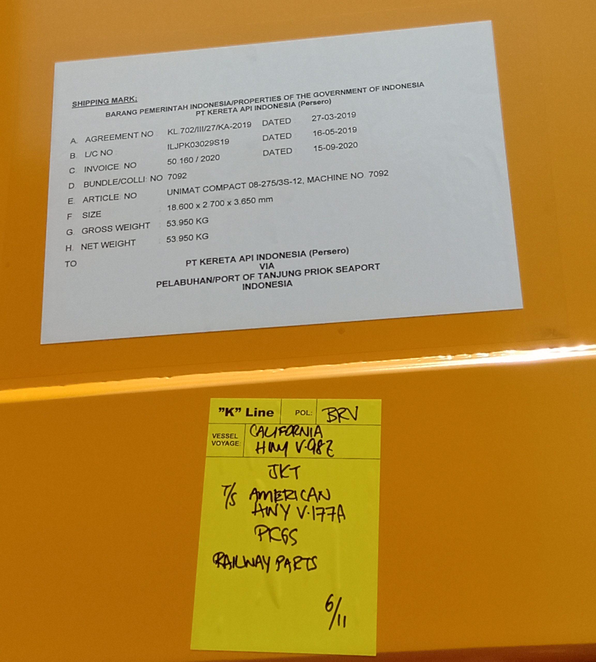 Shipping Mark Pengiriman Plasser&Theurer 08-275/3S   Sumber: Ilham Akmal Rafi Pramudya