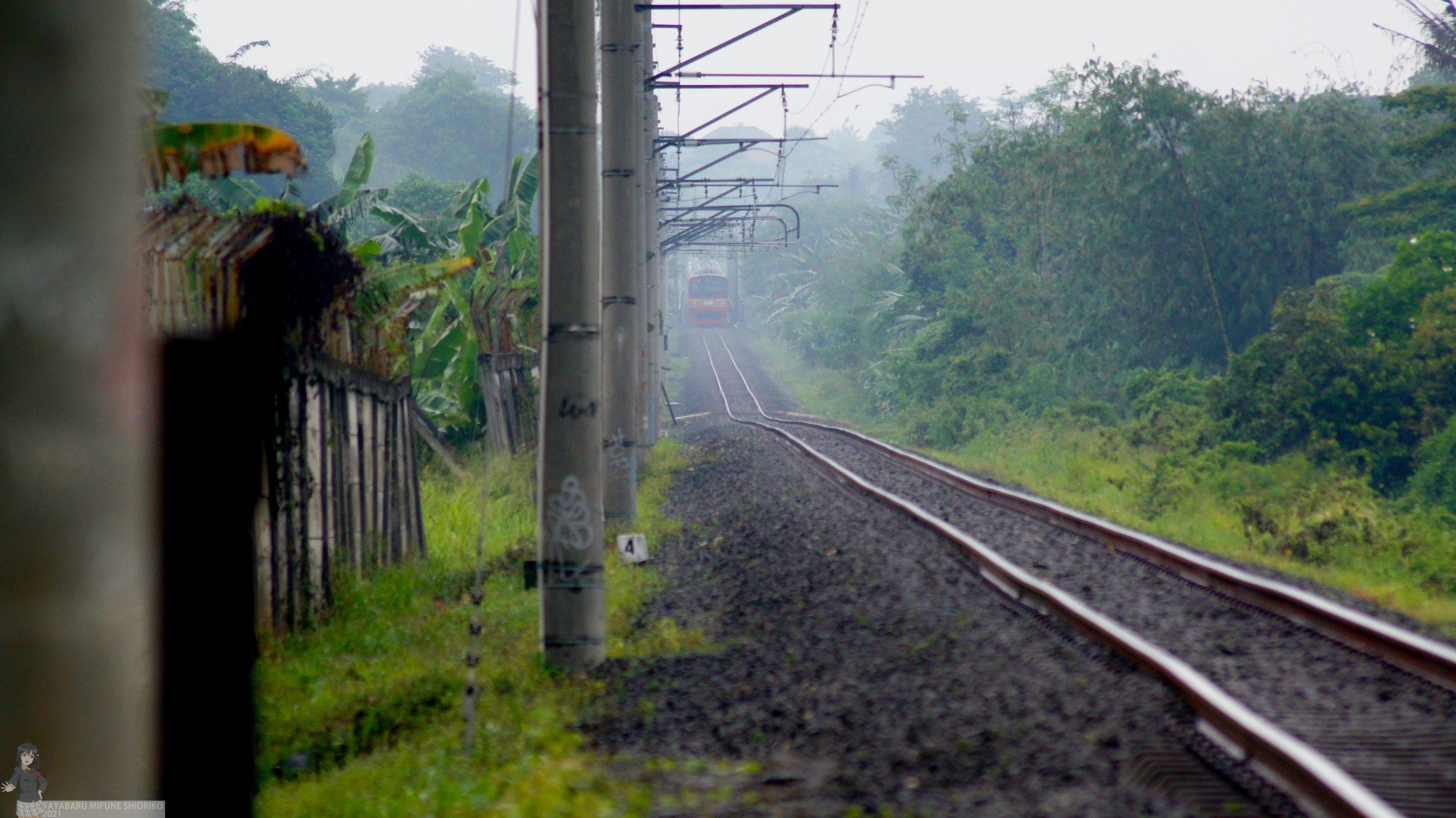 KRL 205 mengintip dari Jembatan Ciliwung